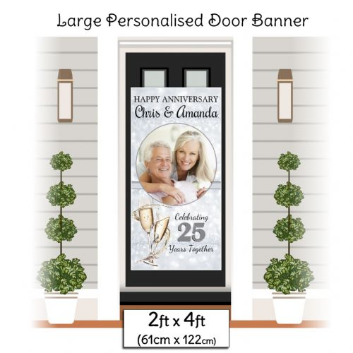 Personalised 25th Silver Wedding Anniversary Door PHOTO Banner Poster ~ N26